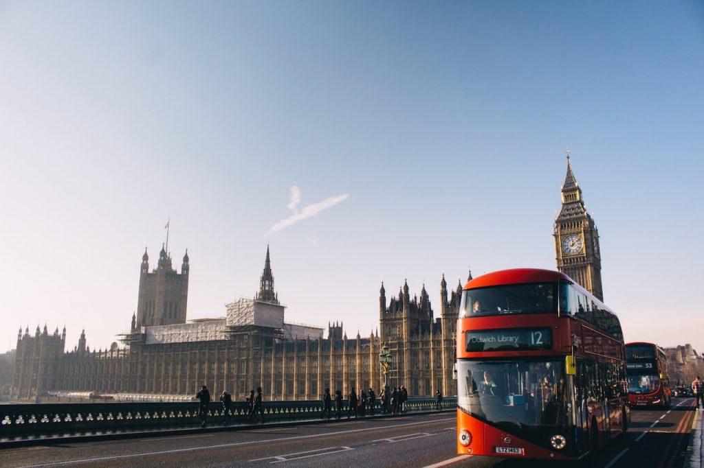 houses of parliament, big ben, city bus,