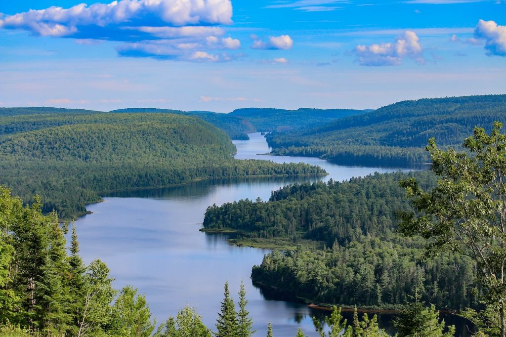 rivier en bossen, canada