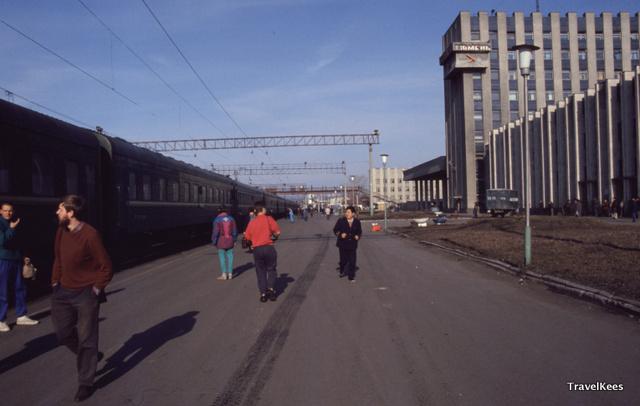 Tjoemen treinstation, transsiberië express tussen Jekaterinenburg en Novosibirsk