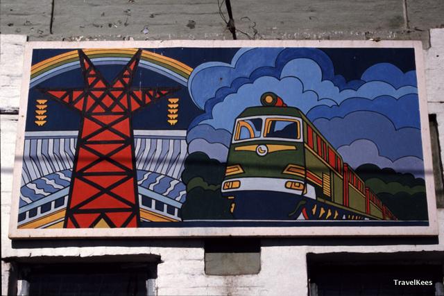 Transsiberië Express tussen Krasnojarsk en Irkoetsk, Transsiberië Express, Krasnojarsk, Novosibirsk, Irkutsk, Siberië, billboard