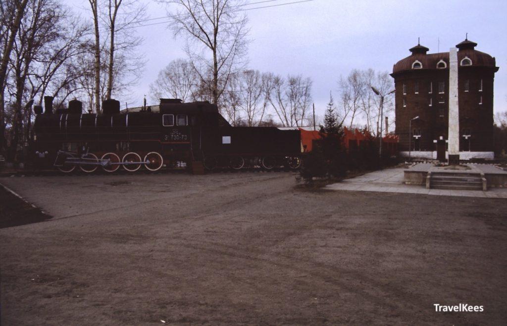 Kamarchaga treinstation, langs de Transsiberië Express tussen Krasnojarsk en Irkoetsk
