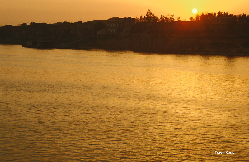 zonsondergang op de Yangtze