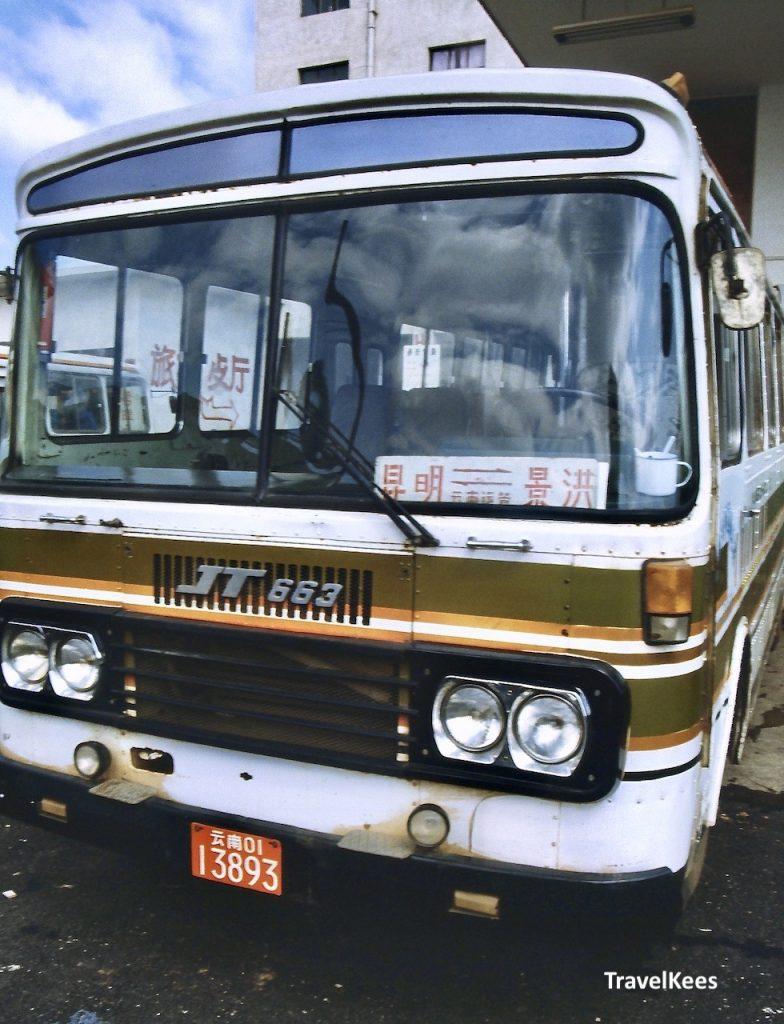 chinese autobus, van kunming over de weg naar xishuangbanna