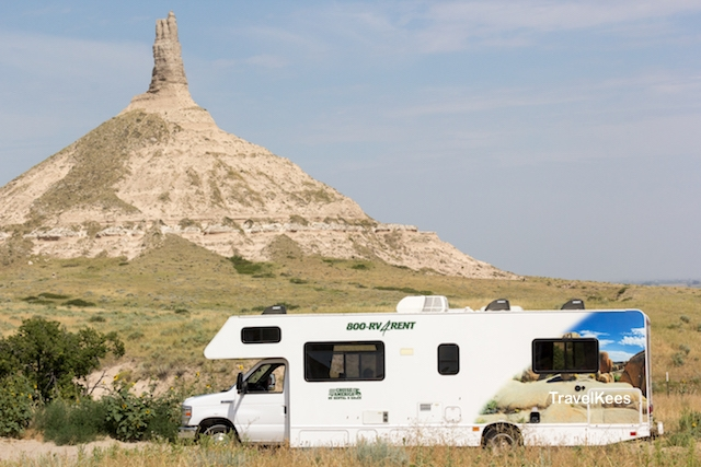 Chimney Rock, Nebraska, camper