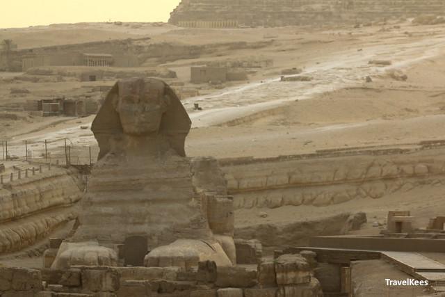 de sphinx bij zonsondergang