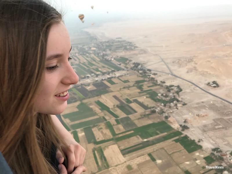 nijldal bij luxor vanuit ballon, egypte met kinderen
